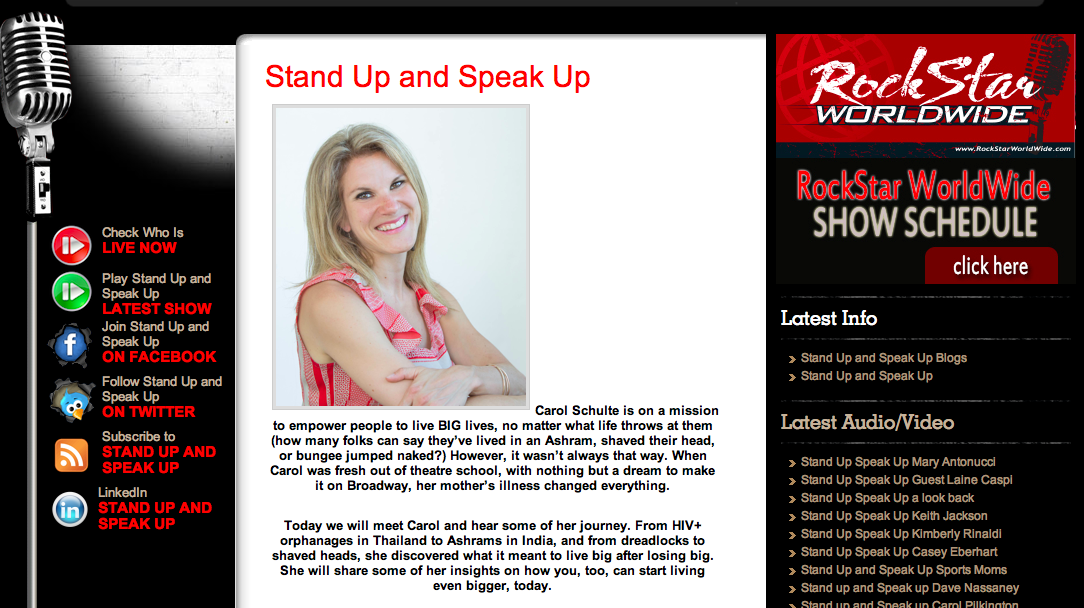 Stand Up; Speak Up ~ Radio interview with Walt Grassl